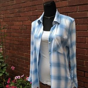 GAP Blue & White Plaid Top, Size S